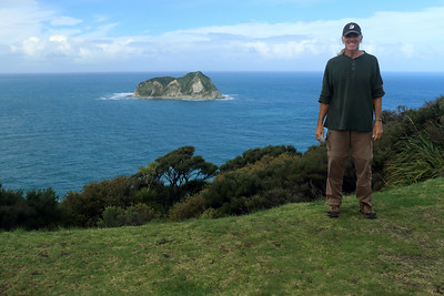 East Cape - the easternmost  point of New Zealand - here atop Otiki Hill rising about 470 ft. (144 m) above the distal Whangaokeno Island (East Island) - Gisborne region - North Island.