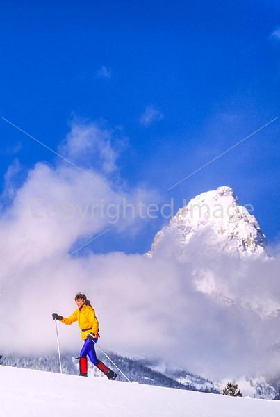 Cross-country skier before Teton Mountain Range near Jackson, Wyoming - 1 - 72 ppi-2