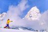 Cross-country skier before Teton Mountain Range near Jackson, Wyoming - 8 - 72 ppi