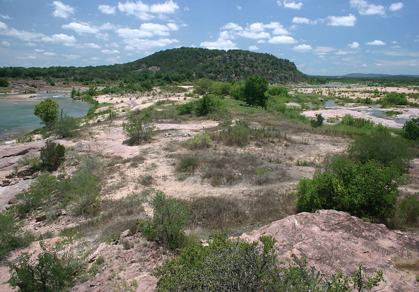 Down the Llano River from the atop Eagle's Beak, upon the granite river island.