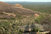 Down the eastern slope of Little Rock - to the southern slope of Enchanted Rock - and beyond the upper section of Turkey Peak.