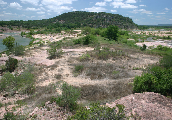 Southward down the Llano River - from here atop the granite outcrop of Eagle's Beak, upon the river island.