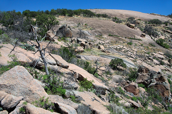Exfoliation of the granite rock along the southwestern slope of Little Rock - Enchanted Rock State Natural Area.