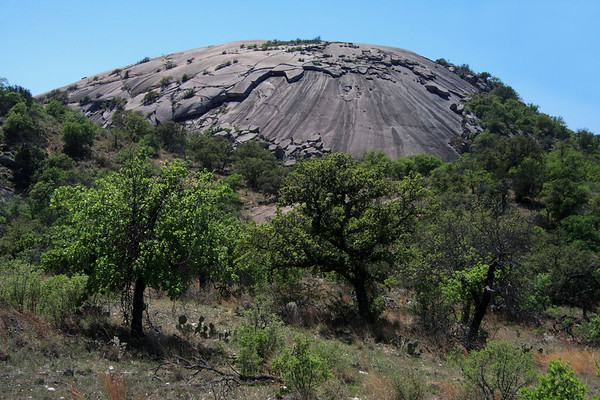 Beyond the prickly pear cactus and oaks - to the northern slope of Little Rock - an exfoliation dome.