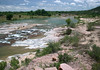 Whitewater rapids of the Llano River - from here adjacent the granite outcrop of Eagle's Beak, a river island.