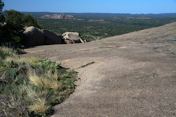 From the tussock grass, pricklypear cactus, and soap tree yuccas along the northern slope of Enchanted Rock - to Watch Mountain - southwestern Llano county - Edwards Plateau ecoregion - Hill Country of Texas.