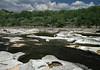 Eroded limestone pits and channels along Flat Rock Creek.