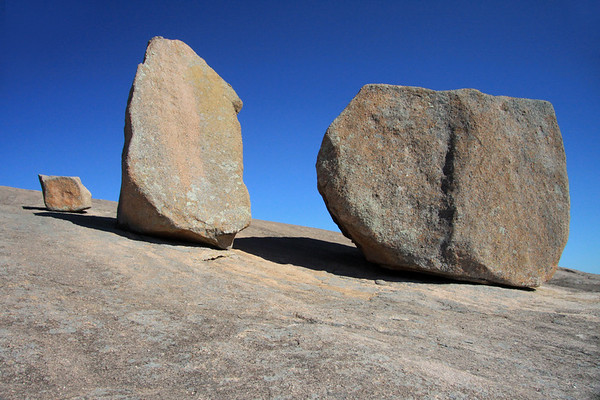 Granite boulders cloaked with lichens along the western slope of Enchanted Rock.
