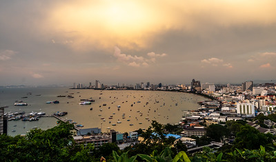 Pattaya Bay at dusk.