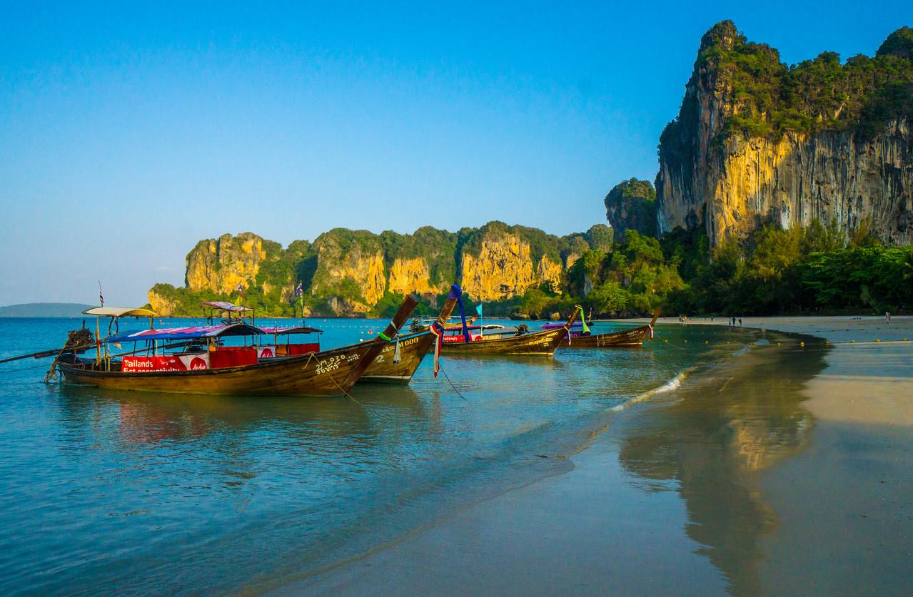 Longtail boats on Railay Beach