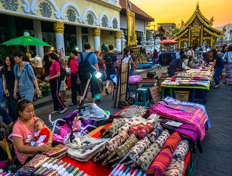 Chiang Mai textile peddlers.
