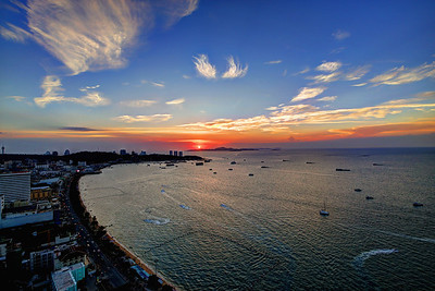 Sunset over Pattaya Bay