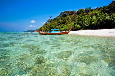 White Sand Beach & Long Tail Boat, Koh Rawi, Satun Thailand