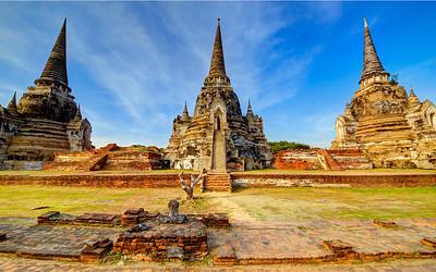 Three Chedis of Wat Si Sanhphet, Ayutthaya, Thailand