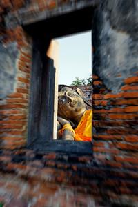 Reclining Buddha Through a Window Ayuthaya