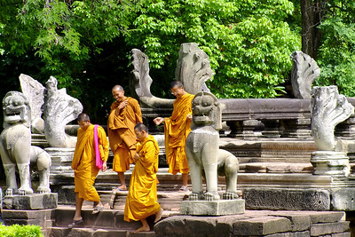 Monks at the Causeway, Prasat Hin Phimai, Thailand