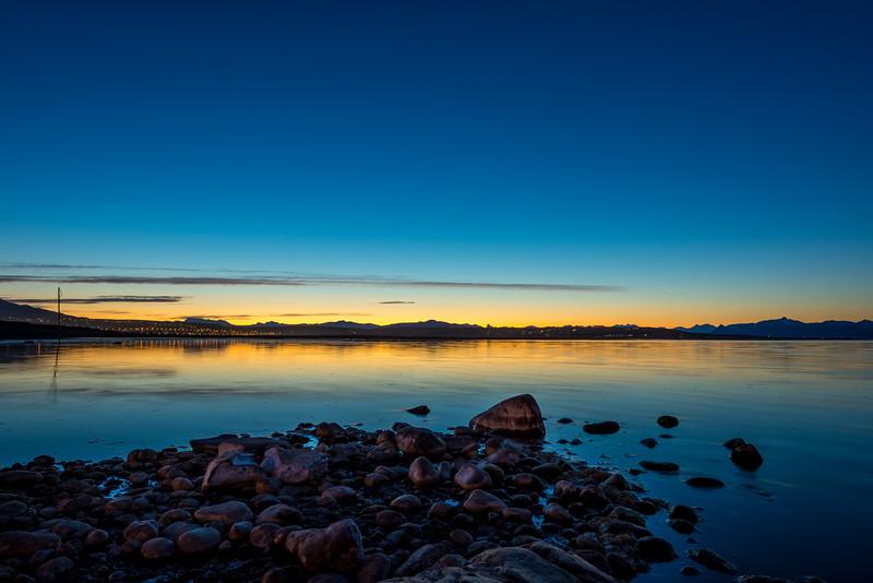 El Calafate across Lake Argentina at Sunset