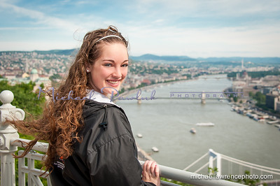 Michaela on the Danube with the Elizabeth and Chain Bridges in view