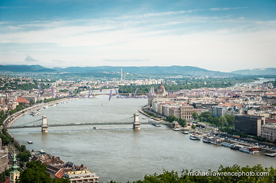 Danube River with Parliament above and to the right of the Chain Bridge