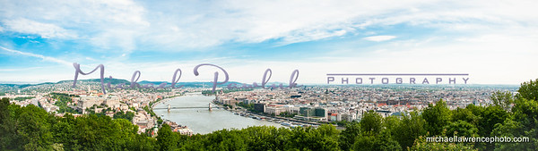 "A panorama of Budapest, note the flat landscape of ""Pest"" vs the hills of ""Buda."""