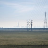 Looking back towards Antioch, California, through the winter haze from West Sherman Island Road.