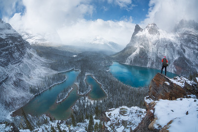 In between snow storms on the Opabin Prospect admiring the newly snow covered landscape,  Yoho National Park, British Columbia, Canada