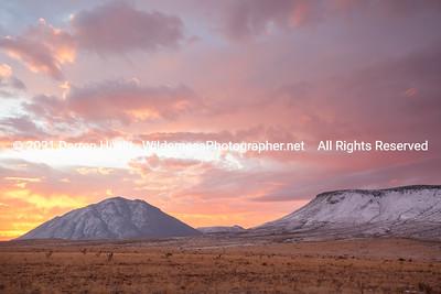 Winter sunrise over the Horned Mountains