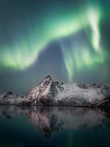 Aurora Borealis near Hamnoy, Lofoten island