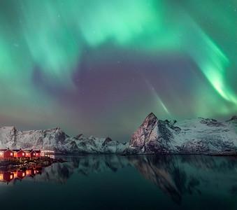 Aurora Borealis and reflections, Hamnoy, Lofoten islands