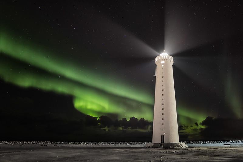 Lighthouse and Aurora Borealis, Iceland