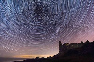 Star trail, Dunure Castle, Ayrshire, Scotland