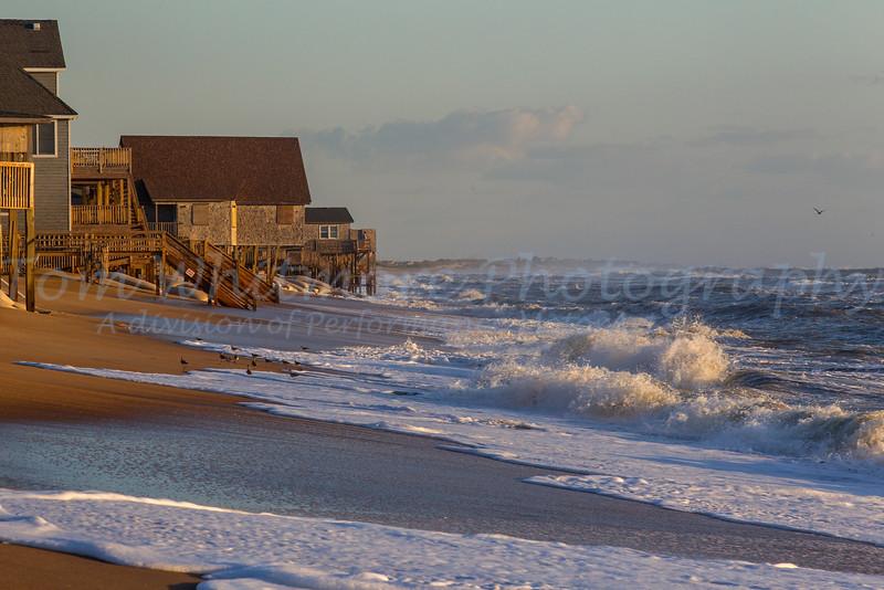 Beach homes at sunrise