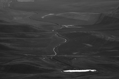 Stream and Pond, The Palouse, B&W