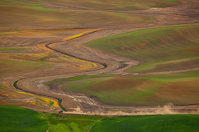 Driving on a dusty road. The Palouse, Eastern Washington