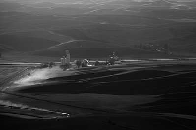 Dusty Road and Grain Mills from Steptoe Butte, Black and White