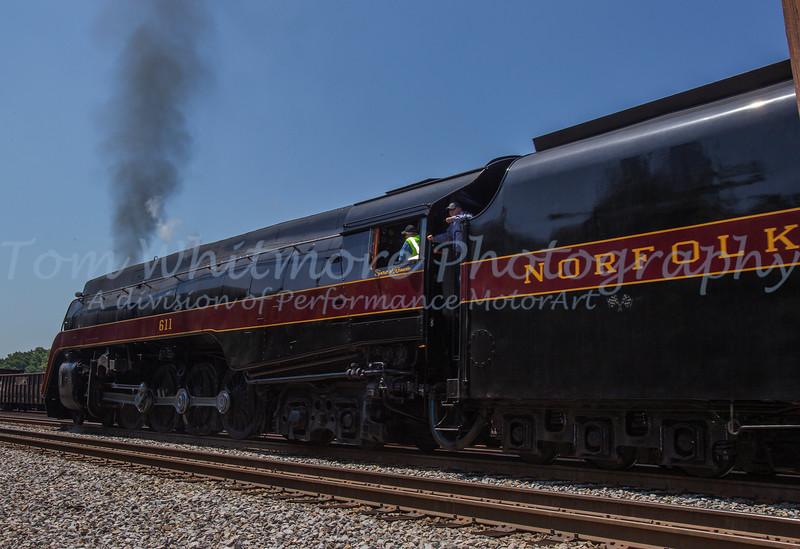 N&W 611 runs through the Crewe rail yard on an excursion run from Lynchburg to Petersburg, VA.