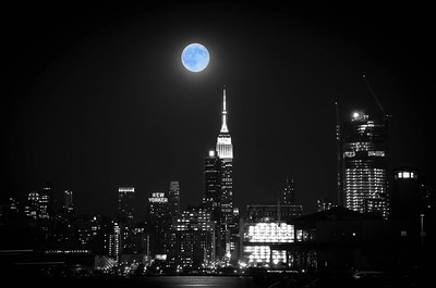 Blue Moon over New York City - Black and White