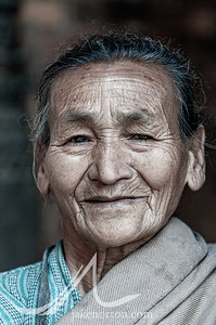 An elderly Newar woman in Bhaktapur, Nepal.
