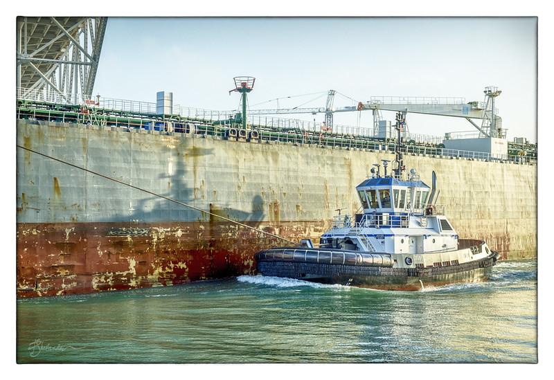 The Tug Zeus Assisting the Tanker Estia
