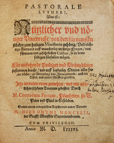 Pastorale Lutheri: Opening Page