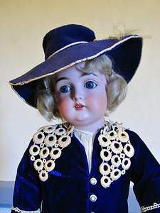 21-inch, German bisque, Kestner boy, 13, bj body, blue velvet outfit