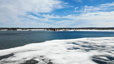 Rock Island Lighthouse With Swans - February 2019
