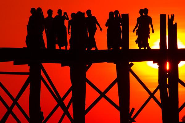 Sunset at the U Bein Bridge  - Taungthaman Lake, Amarapura, Myanmar
