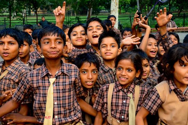 Free Spirits - Students on Field Trip to the Gandhi Memorial Raj Ghat, Delhi, India