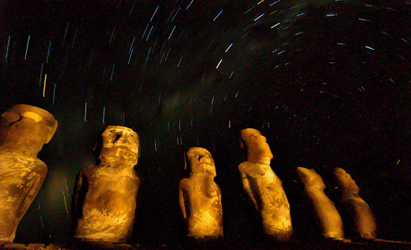 Moai at Midnight - Rapa Nui National Park, Easter Island, Chile