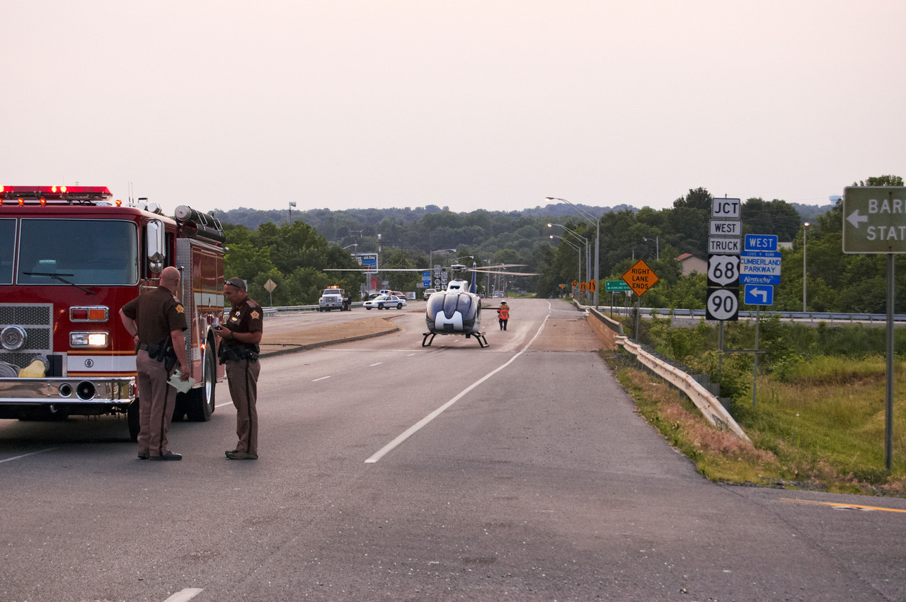 The helicopter lands on the bridge above Cumberland Parkway on HWY90. This wasn't something you see very often.