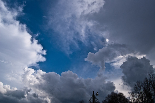 Ominous clouds appear behind the storm in Nobob, KY that dropped hail as another storm approaches March 15th 2012.