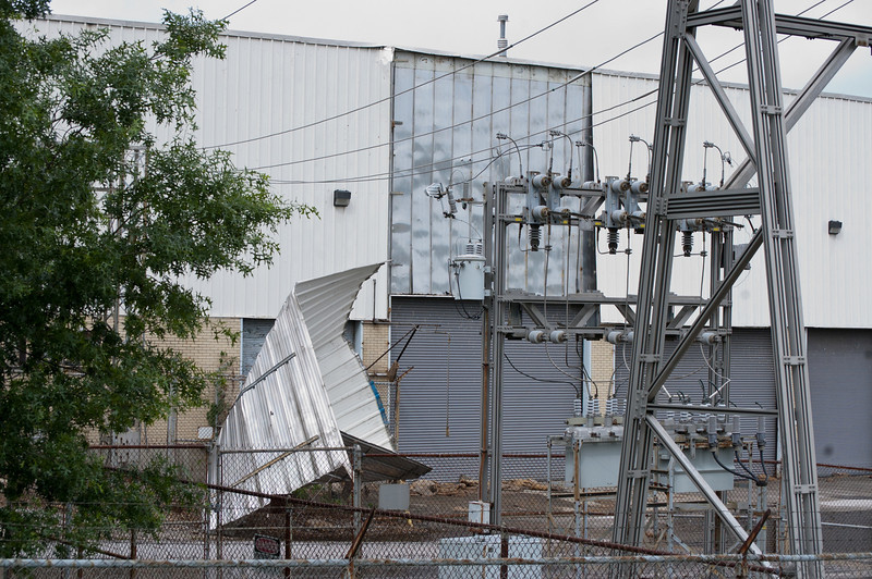SKF Factory in Glasgow lost a large piece of metal during the winds on Saturday.