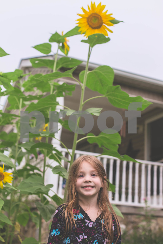 My Daughter posing with her sunflowers.