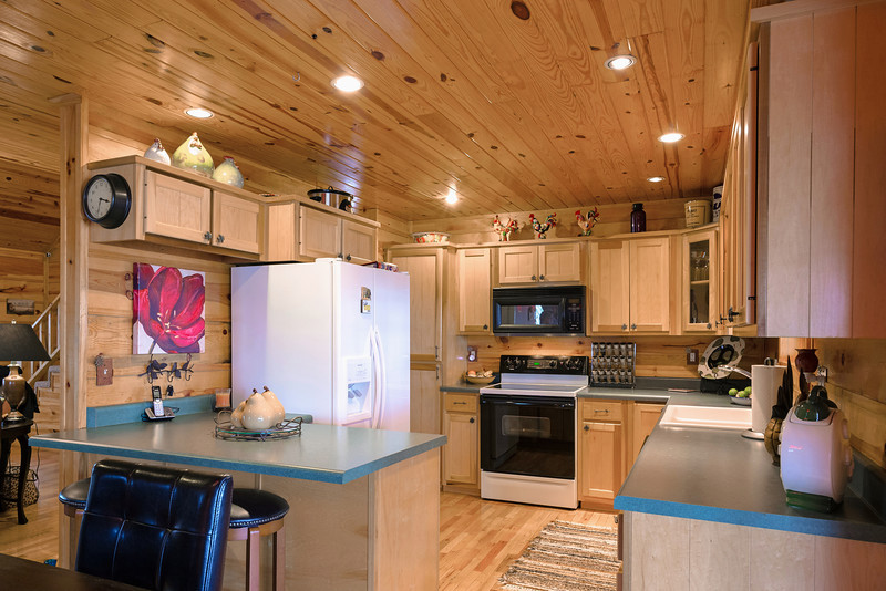 The kitchen is conveniently open to the living and dining room.